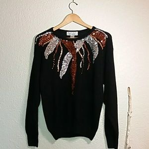 Silk, rabbit & lambswool Sequin sweater Vintage